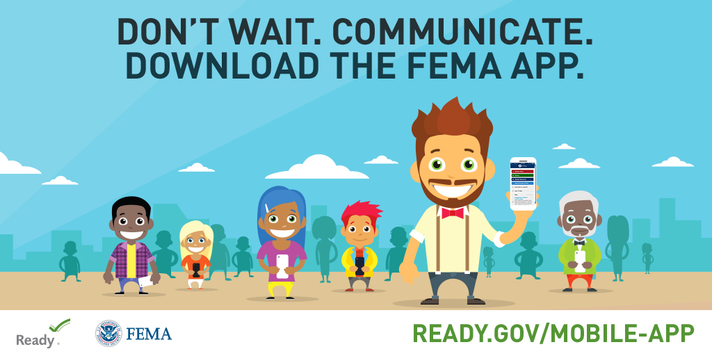 A graphic promoting the FEMA App for National Preparedness Month that has been formatted for Twitter.