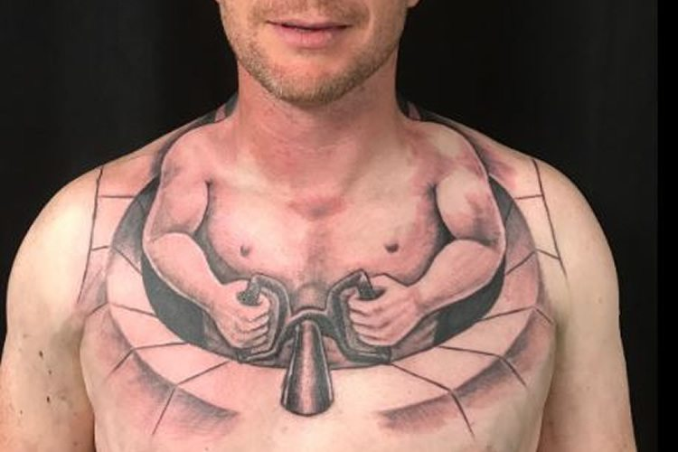 Man S Tattoo Makes It Look Like He S A Tiny Man Driving His Own Body