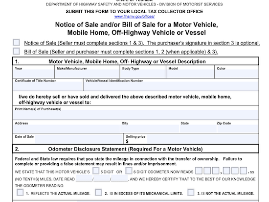 Do You Need A Bill Of Sale To Transfer Title In Florida Etags Vehicle Registration Title Services Driven By Technology